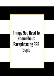 Things You Need to Know About Paraphrasing APA Style