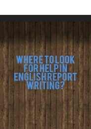 Where to Look for Help in English Report Writing?