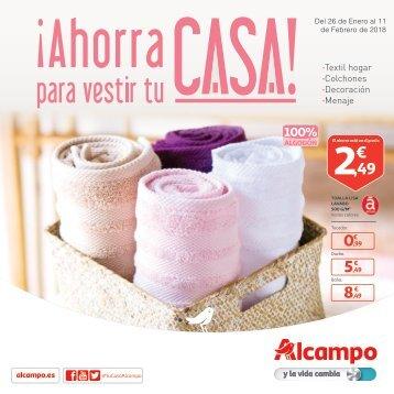 ALCAMPO Hogar ¡Ahorra para vestir tu CASA! Del 26 de enero al 11 de febrero 2018