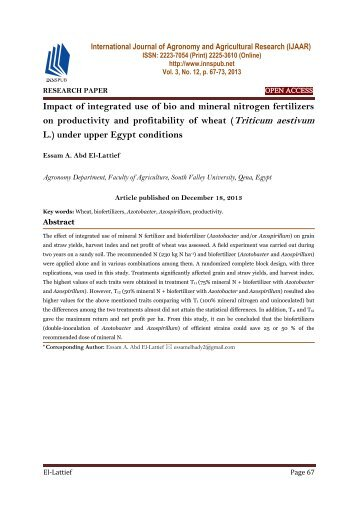 Impact of integrated use of bio and mineral nitrogen fertilizers on productivity and profitability of wheat (Triticum aestivum L.) under upper Egypt conditions