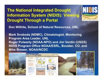 The National Integrated Drought Information System (NIDIS ... - WMO