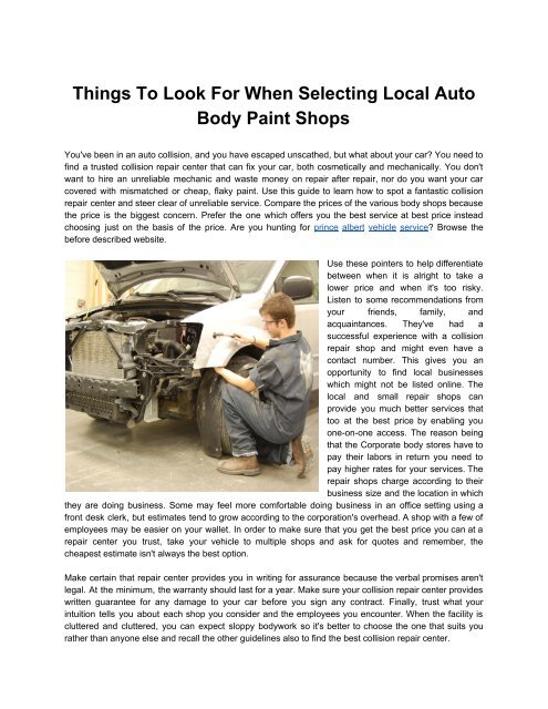 Local Body Shops >> Things To Look For When Selecting Local Auto Body Paint
