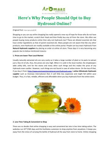 Here's Why People Should Opt to Buy Hydrosol Online?