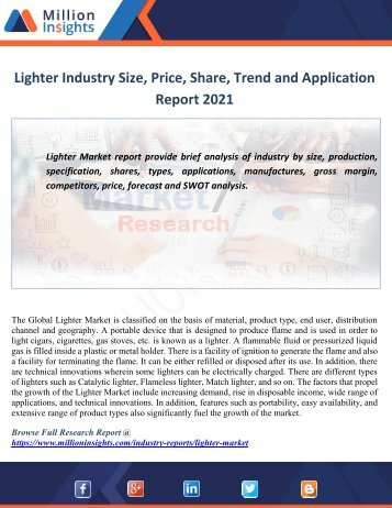Lighter Industry Size,Price,Share,Trend and Application Report 2021