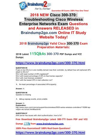 [Full-Version]2018 Braindump2go New 300-370 PDF and 300-370 VCE Dumps Free Share(95-101)