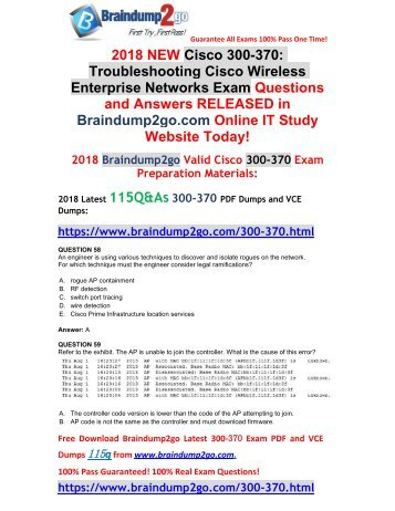 [Full-Version]2018 Braindump2go New 300-370 VCE Dumps Free Share(58-68)