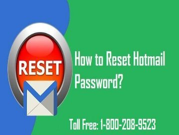 How to Reset Hotmail Password? 1-800-243-0019 For Assistance