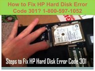 Call  +1-800-597-1052 Fix HP Hard Disk Error Code 301