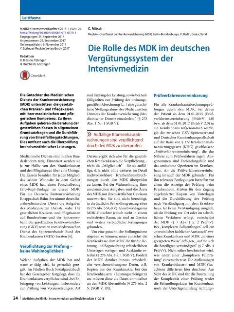 05 Die Rolle des MDK im deutschen Vergütungssystem der Intensivmedizin