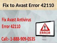 Dial 1888 909 0535 Fix Avast Error 42110
