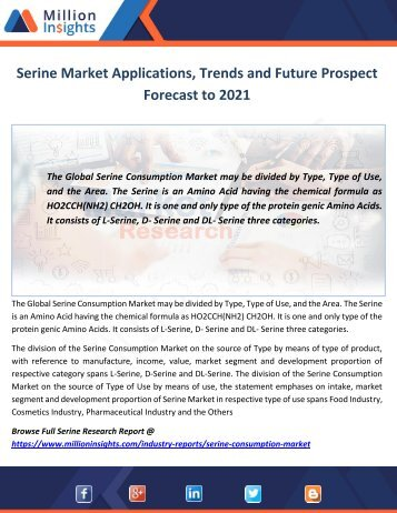 Serine Market Growth Prospect Forecast to 2021