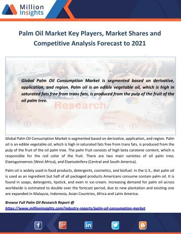 Palm Oil Market Competitive Analysis Forecast to 2021