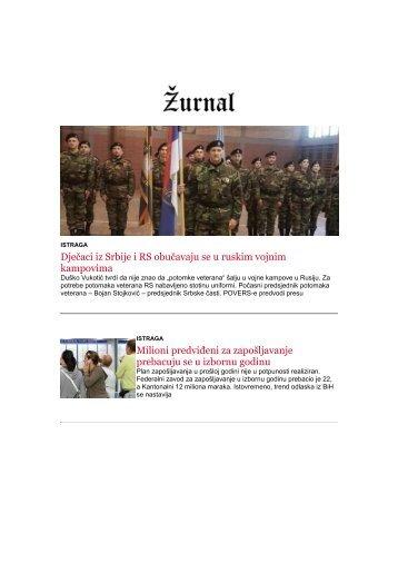 SEDMIČNI NEWSLETTER ŽURNALA OD 22.1.2018.godine do 29.1.2018.godine