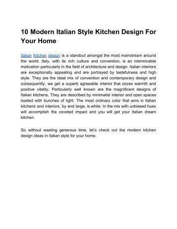 10 Modern Italian Style Kitchen Design For Your Home