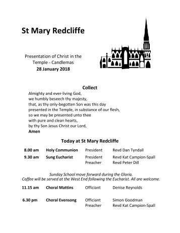 St Mary Redcliffe Church Pew Leaflet - January 28 2018