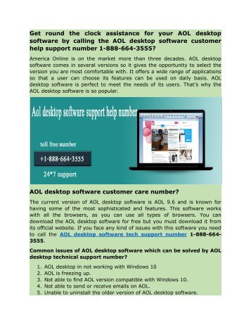 AOL desktop software customer help supprot number 1-888-664-3555