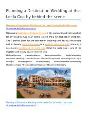 Planning a Destination Wedding at The Leela Goa