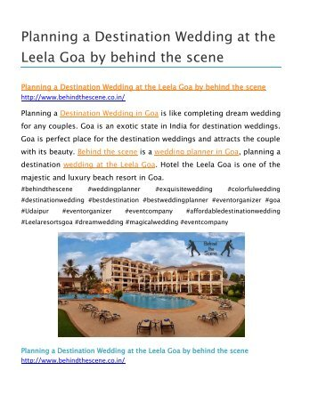 Planning a Destination Wedding at The Leela Goa