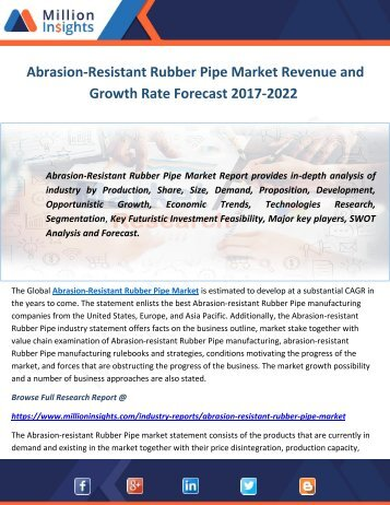 Abrasion-Resistant Rubber Pipe Market Revenue and Growth Rate Forecast 2017-2022