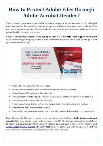 How to Protect Adobe Files through Adobe Acrobat Reader?