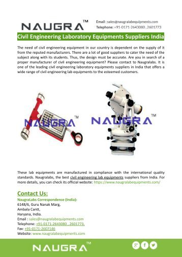 Civil Engineering Laboratory Equipments Suppliers India - Naugralabs