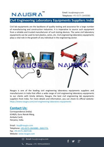 Civil Engineering Laboratory Equipments Suppliers India-Naugra