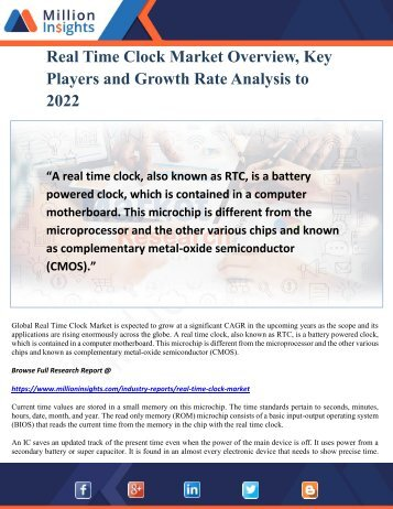 Real Time Clock Market Overview, Key Players and Growth Rate Analysis to 2022