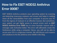 Fix to ESET NOD32 Antivirus Error Code 0008 Call 1888 909 0535