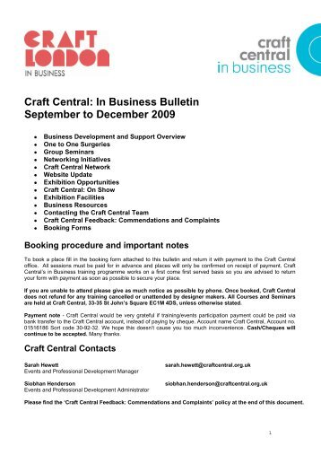 Craft Central: In Business Bulletin September to December 2009