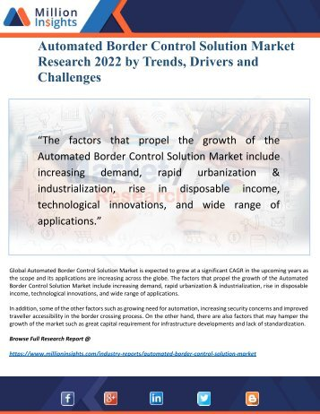 Automated Border Control Solution Market 2022 Discover new Industry Opportunities and Key Trends