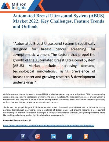 Automated Breast Ultrasound System (ABUS) Market 2022 Driven by Key Players and Regions Forecast