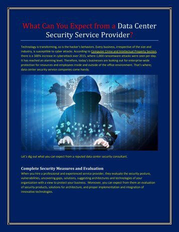 What Can You Expect from a Data Center Security Service Provider