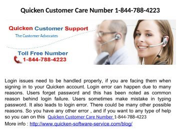 Quicken Login Issues Phone Number 1-844-788-4223