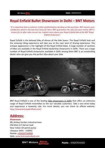 Royal Enfield Bullet Showroom In Delhi – BNT Motors