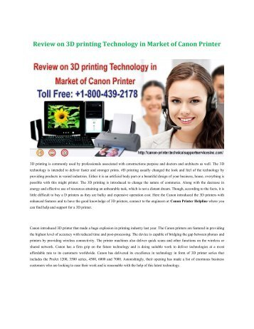 Review on 3D printing Technology in Market of Canon Printer