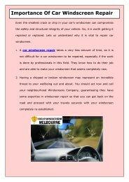 Importance Of Car Windscreen Repair