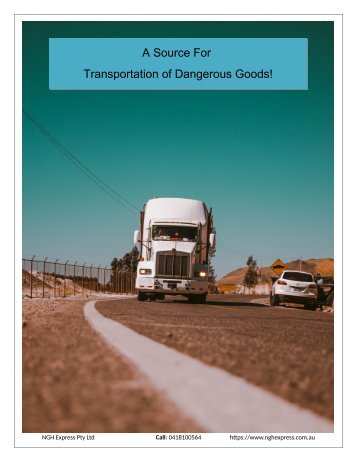 A Source For Transportation of Dangerous Goods!