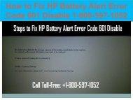 Call +1-800-597-1052 Fix HP Battery Alert Error Code 601