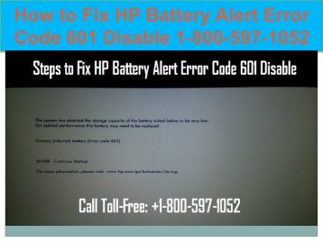 Call +1-800-597-1052 Fix HP Battery Alert Error Code 601
