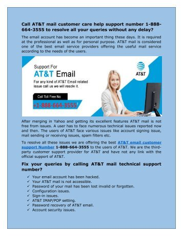 AT&T mail customer care help number 1-888-664-3555