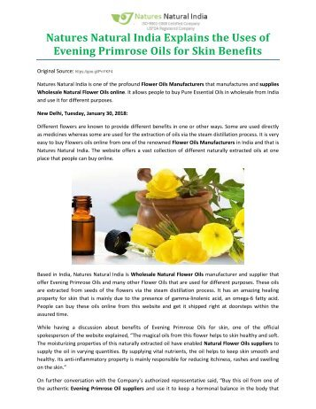 Natures Natural India Explains the Uses of Evening Primrose Oils for Skin Benefits