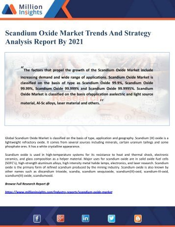 Scandium Oxide Market Trends And Strategy Analysis Report By 2021