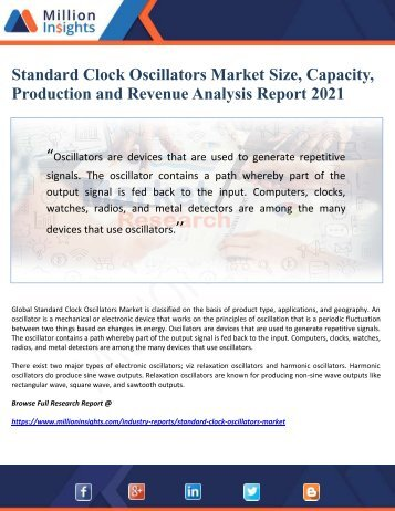 Standard Clock Oscillators Market Size, Capacity, Production and Revenue Analysis Report 2021