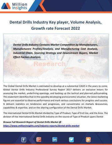 Dental Drills Industry Key player, Volume Analysis, Growth rate Forecast 2022