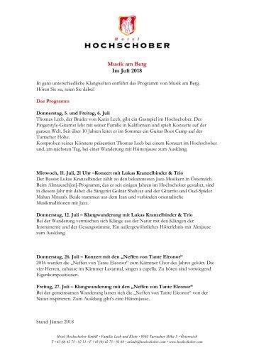 HS Programm Musik am Berg 2018
