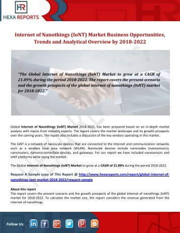 Internet of Nanothings (IoNT) Market Business Opportunities, Trends and Analytical Overview by 2018-2022