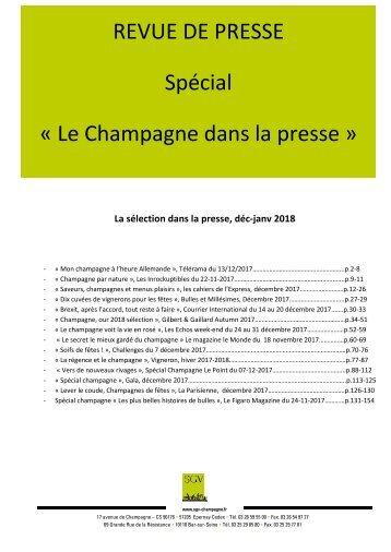 Panorama de presse  Spécial CHAMPAGNE déc-janvier 2018