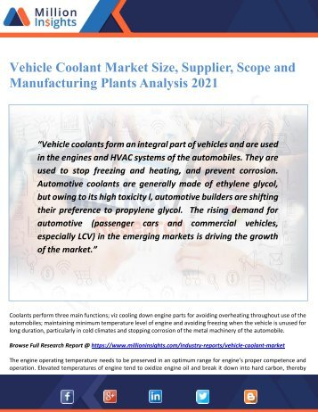 Vehicle Coolant Market Size, Supplier, Scope and Manufacturing Plants Analysis 2021