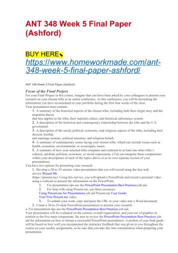 ANT 348 Week 5 Final Paper (Ashford)