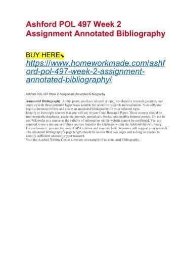 Ashford POL 497 Week 2 Assignment Annotated Bibliography